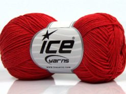 Lot of 8 Skeins Ice Yarns PURE COTTON FINE (100% Cotton) Hand Knitting Yarn Red