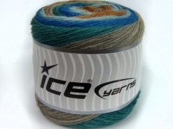 Lot of 2 x 150gr Skeins Ice Yarns SALE CAKES YARN (25% Wool) Yarn Blue Shades Turquoise Camel beige