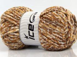 Lot of 4 x 100gr Skeins Ice Yarns CHENILLE BABY SAFARI (100% MicroFiber) Yarn Brown Shades White