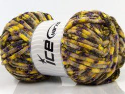 Lot of 4 x 100gr Skeins Ice Yarns CHENILLE BABY SAFARI (100% MicroFiber) Yarn Purple Neon Yellow Light Blue Brown