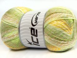 Lot of 2 x 200gr Skeins Ice Yarns PUZZLE BABY Yarn Green Shades Yellow Camel