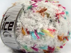 Lot of 4 x 100gr Skeins Ice Yarns SALE EYELASH BLEND (50% MicroFiber) Yarn White Fuchsia Turquoise Copper Black Gold