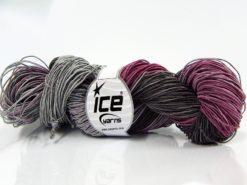 Lot of 2 x 200gr Skeins Ice Yarns HAND DYED BATIK (50% Cotton) Yarn Black Grey Fuchsia