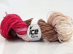 Lot of 2 x 200gr Skeins Ice Yarns HAND DYED BATIK (50% Cotton) Yarn Brown Cream Fuchsia