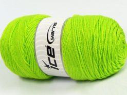 Lot of 2 x 200gr Skeins Ice Yarns SAVER Hand Knitting Yarn Neon Green