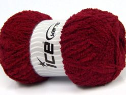 Lot of 4 x 100gr Skeins Ice Yarns PUFFY (100% MicroFiber) Yarn Dark Red