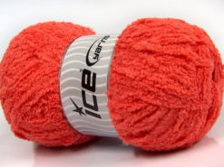 Lot of 4 x 100gr Skeins Ice Yarns PUFFY (100% MicroFiber) Yarn Salmon