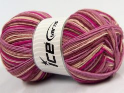 Lot of 2 x 150gr Skeins Ice Yarns GLAMOR SOCK (75% Superwash Wool) Yarn Pink Shades Cream Rose Brown