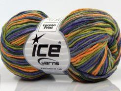Lot of 8 Skeins Ice Yarns LORENA PRINT (55% Cotton) Yarn Purple Green Orange
