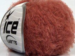 Lot of 8 Skeins Ice Yarns SALE EYELASH Hand Knitting Yarn Dark Salmon