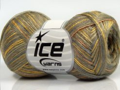 Lot of 8 Skeins Ice Yarns SALE LUXURY-PREMIUM (10% Cashmere 70% Viscose) Yarn Grey Green Shades Gold Salmon