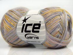 Lot of 8 Skeins Ice Yarns SALE LUXURY-PREMIUM (10% Cashmere 70% Viscose) Yarn Light Lilac Light Khaki Salmon Gold