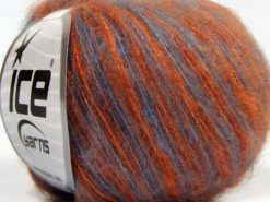 Lot of 10 Skeins Ice Yarns FLUFFY COLOR SUPERFINE (20% Wool) Yarn Orange Jeans Blue