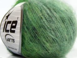 Lot of 10 Skeins Ice Yarns FLUFFY COLOR SUPERFINE (20% Wool) Yarn Green Shades