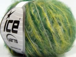 Lot of 10 Skeins Ice Yarns FLUFFY COLOR SUPERFINE (20% Wool) Yarn Green Shades White