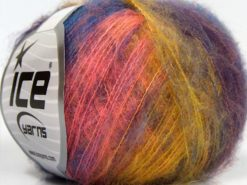 Lot of 10 Skeins Ice Yarns FLUFFY COLOR SUPERFINE (20% Wool) Yarn Pink Blue Maroon Yellow