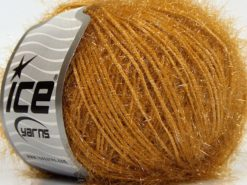 Lot of 8 Skeins Ice Yarns SPARKLE SOFT Hand Knitting Yarn Dark Gold