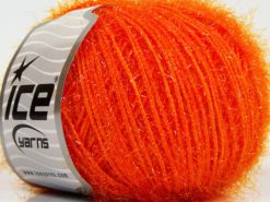 Lot of 8 Skeins Ice Yarns SPARKLE SOFT Hand Knitting Yarn Orange