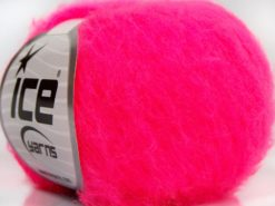 Lot of 10 Skeins Ice Yarns FLUFFY SUPERFINE (20% Wool) Yarn Neon Pink