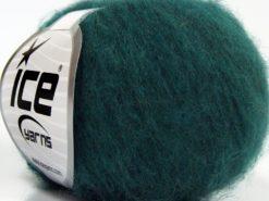 Lot of 10 Skeins Ice Yarns FLUFFY SUPERFINE (20% Wool) Yarn Dark Green