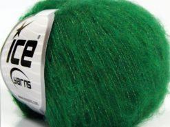 Lot of 10 Skeins Ice Yarns FLUFFY SUPERFINE (20% Wool) Hand Knitting Yarn Green