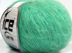 Lot of 10 Skeins Ice Yarns FLUFFY SUPERFINE (20% Wool) Yarn Mint Green