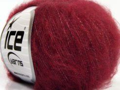 Lot of 10 Skeins Ice Yarns FLUFFY SUPERFINE (20% Wool) Yarn Burgundy