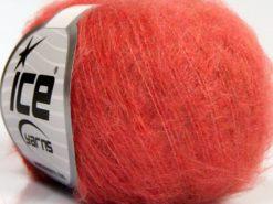 Lot of 10 Skeins Ice Yarns FLUFFY SUPERFINE (20% Wool) Yarn Salmon