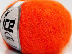 Lot of 10 Skeins Ice Yarns FLUFFY SUPERFINE (20% Wool) Yarn Orange