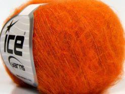 Lot of 10 Skeins Ice Yarns FLUFFY SUPERFINE (20% Wool) Yarn Dark Orange