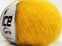 Lot of 10 Skeins Ice Yarns FLUFFY SUPERFINE (20% Wool) Yarn Yellow
