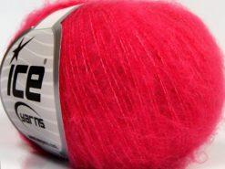 Lot of 10 Skeins Ice Yarns FLUFFY SUPERFINE (20% Wool) Yarn Fuchsia