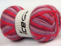 Lot of 4 x 100gr Skeins Ice Yarns ANGORA COLORS (18% Angora 32% Wool) Yarn Lilac Shades Red Purple