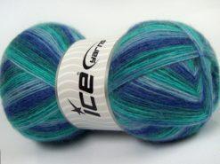 Lot of 4 x 100gr Skeins Ice Yarns ANGORA COLORS (18% Angora 32% Wool) Yarn Blue Shades Green Shades
