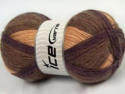 Lot of 3 x 125gr Skeins Ice Yarns SALE WINTER (18% Angora 32% Wool) Yarn Brown Maroon Beige Light Gold