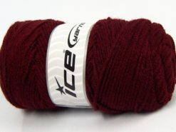 Lot of 4 x 90gr Skeins Ice Yarns SALE PLAIN Hand Knitting Yarn Dark Burgundy