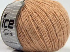 Lot of 8 Skeins Ice Yarns MILD FINE (5% Elastan) Hand Knitting Yarn Dark Beige