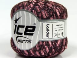 Lot of 6 Skeins Ice Yarns Trellis LADDER Hand Knitting Yarn Pink Black