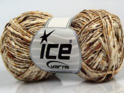 Lot of 8 Skeins Ice Yarns SALE METALLIC (58% Cotton) Yarn Brown Shades Cream Copper