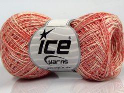 Lot of 8 Skeins Ice Yarns SALE SUMMER (50% Cotton 30% Viscose) Yarn Red Cream