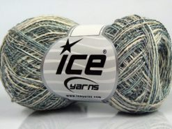 Lot of 8 Skeins Ice Yarns SALE SUMMER (50% Cotton 30% Viscose) Yarn Light Turquoise Black Cream