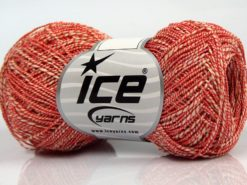 Lot of 8 Skeins Ice Yarns ALDEBARAN GLITZ (50% Cotton) Yarn Cream Red