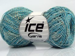Lot of 8 Skeins Ice Yarns ALDEBARAN GLITZ (50% Cotton) Yarn Cream Turquoise