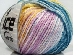 Lot of 8 Skeins Ice Yarns MONA LISA (100% Cotton) Yarn Oil Blue Pink Shades Green Yellow