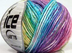 Lot of 8 Skeins Ice Yarns MONA LISA (100% Cotton) Yarn Green Shades Yellow Turquoise Purple