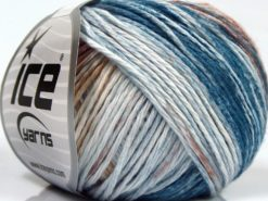 Lot of 8 Skeins Ice Yarns MONA LISA (100% Cotton) Yarn Oil Blue Brown Shades White