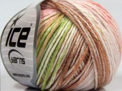 Lot of 8 Skeins Ice Yarns MONA LISA (100% Cotton) Yarn Pink Shades Brown White Light Green