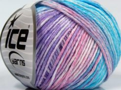 Lot of 8 Skeins Ice Yarns MONA LISA (100% Cotton) Yarn Turquoise Shades Pink White Lilac Shades