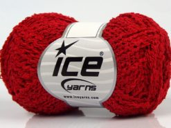 Lot of 8 Skeins Ice Yarns COTTONAC WAVE (50% Cotton) Hand Knitting Yarn Red