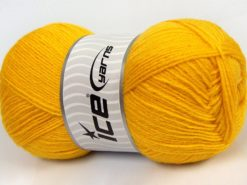 Lot of 4 x 100gr Skeins Ice Yarns MERINO GOLD (60% Merino Wool) Yarn Yellow
